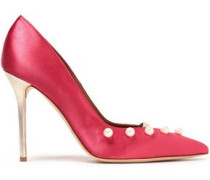 Zia Metallic Leather-trimmed Faux Pearl-embellished Satin Pumps Bright Pink