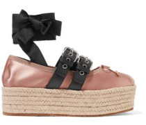 Leather-trimmed Satin Platform Espadrilles Antique Rose