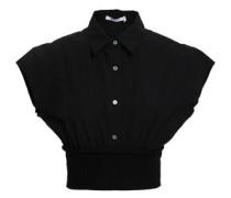 Cropped Ribbed-paneled Cotton-poplin Top Black