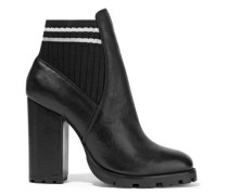 Ilenne Striped Rib-paneled Leather Ankle Boots Black