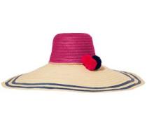 Corozon Pompom-embellished Woven Straw Hat Beige