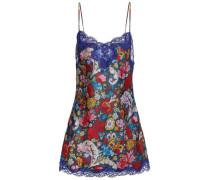 Lace-trimmed Floral-print Jacquard-twill Mini Dress Multicolor