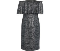 Off-the-shoulder Metallic Guipure Lace Dress Gunmetal Size 0