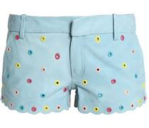 Eyelet-embellished leather shorts