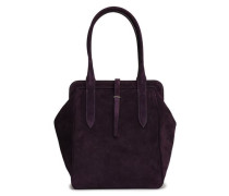Leather-trimmed Suede Tote Dark Purple Size --