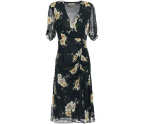 Woman Ruched Floral-print Silk-georgette Dress Navy