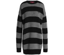 Appliquéd Striped Wool And Cashmere-blend Mini Dress Gray
