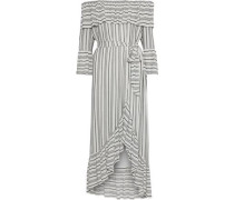 Viola off-the-shoulder striped gauze midi dress