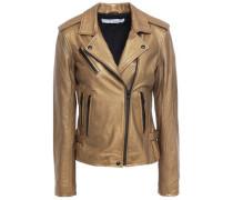 Newhan Washed-leather Biker Jacket Bronze