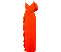 Ruffled cutout stretch-crepe gown