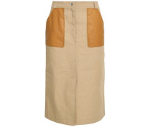 Leather-trimmed cotton-blend skirt