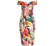 Woman Off-the-shoulder Floral-print Cady Midi Dress Multicolor