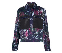 Leather-paneled printed duchesse-satin jacket