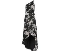 One-shoulder Printed Chiffon Gown Black