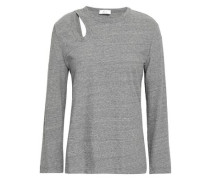 Regan Cutout Mélange Cotton-jersey Top Gray