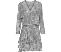 Ruffled printed silk-chiffon mini dress
