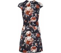 Belted Floral-print Satin-faille Mini Dress Black