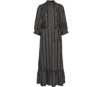 Woman Meeti Belted Metallic Striped Georgette Maxi Dress Black