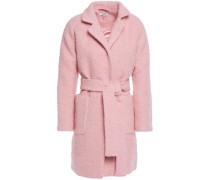 Woman Belted Wool-blend Bouclé Coat Baby Pink