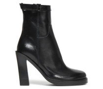 Glossed-leather Platform Ankle Boots Black