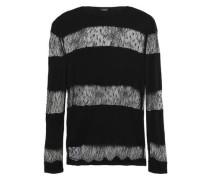 Point D'esprit-paneled Wool Sweater Black