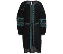 Belted Embroidered Cotton Dress Black