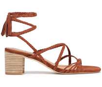 Woman Haize Knotted Braided Suede Sandals Brown
