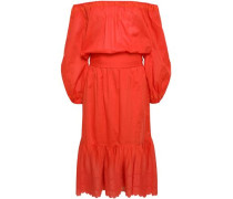 Off-the-shoulder Broderie Anglaise Cotton Dress Bright Orange