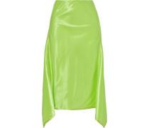 Woman Darby Asymmetric Neon Satin Skirt Lime Green