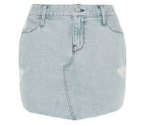 Distressed Denim Mini Skirt Light Denim