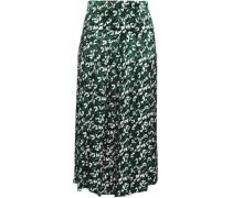 Woman Gathered Printed Satin Midi Skirt Emerald