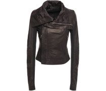 Ribbed Knit-paneled Leather Biker Jacket Black