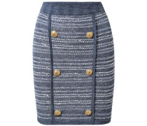 Jersey-trimmed Button-embellished Tweed Mini Skirt Blue