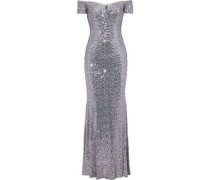 Off-the-shoulder Sequined Tulle Gown Lilac Size 0