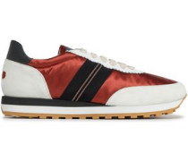 Grosgrain-trimmed Leather, Suede And Satin Sneakers Brick