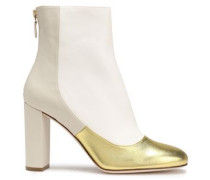 Metallic paneled leather ankle boots