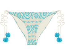 Jacquard-knit Low-rise Bikini Briefs Azure