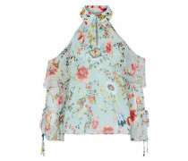 Blayne Cold-shoulder Floral-print Silk-chiffon Blouse Mint