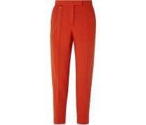 Chain-embellished Wool-blend Tapered Pants Tomato Red