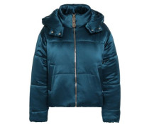 Quilted Silk-satin Hooded Down Jacket Petrol