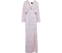Woman Camille Gathered Sequined Chiffon Maxi Dress Baby Pink