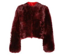 Cropped Shearling Coat Burgundy