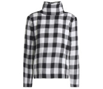 Checked cotton-blend flannel turtleneck top