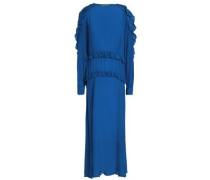 Ruffle-trimmed crepe maxi dress