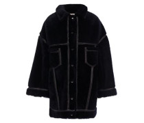 Oversized Vegan Leather-trimmed Shearling Coat Midnight Blue