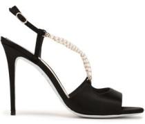 Embellished Satin Sandals Black