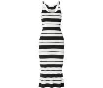 Woman Striped Ribbed Silk-blend Midi Dress Off-white