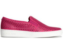 Laser-cut Leather Slip-on Sneakers Bright Pink