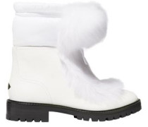 Glacie Shearling Pompom-embellished Leather Ankle Boots White