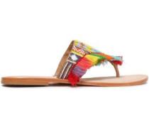 Embellished Leather Sandals Multicolor